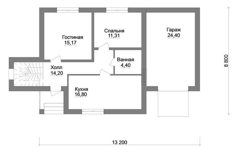Сонар B-176. Проект мансардного дома на 3 спальни, с гаражом