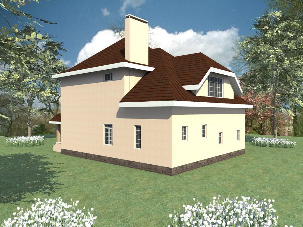 Сотирис C-105. Проект двухэтажного дома на 3 спальни, с подвалом и гаражом