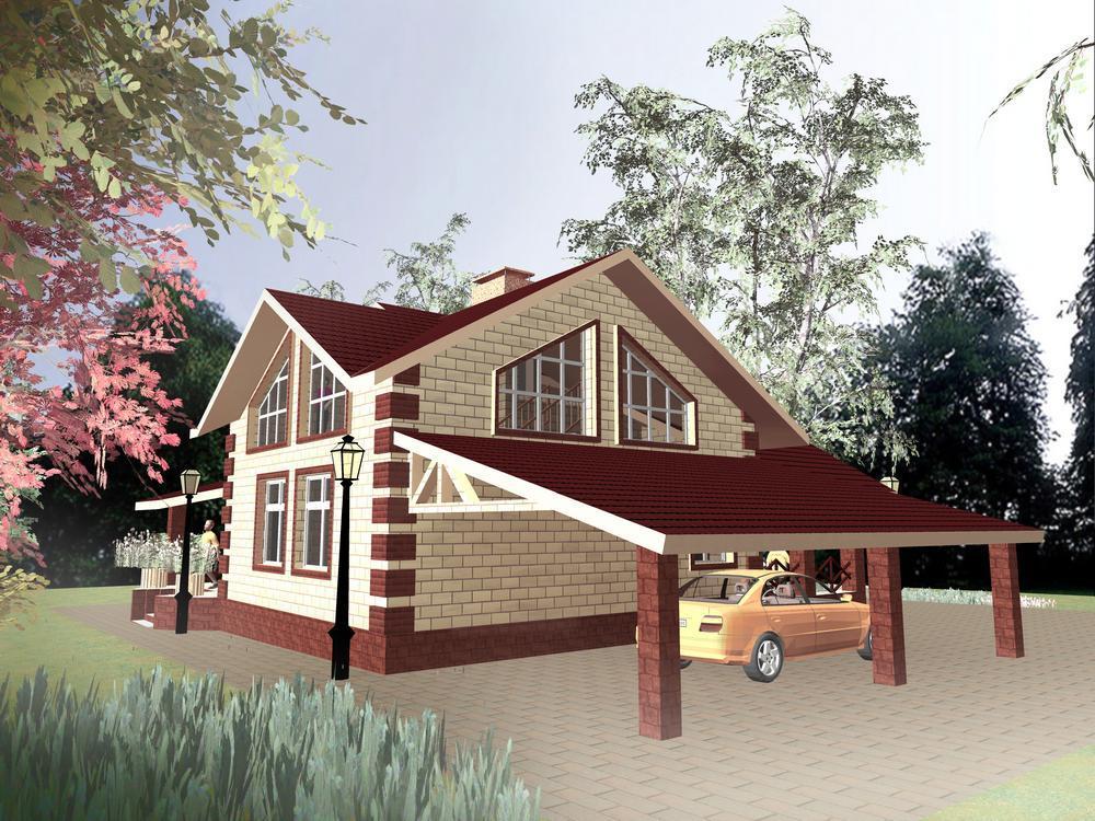 СПОТ D-070. Проект мансардного коттеджа с парилкой, двумя террасами и навесом для автомобиля