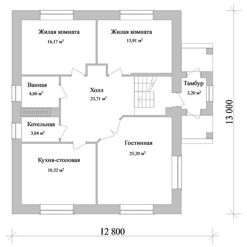 СТАН D-042. Проект простого мансардного коттеджа на 4 спальни