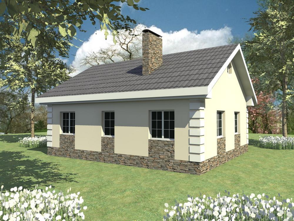 Станица A-061. Проект простого одноэтажного дома на 2 спальни