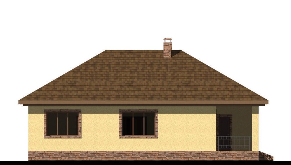 Старк B-246. Проект одноэтажного дома на 2 спальни, с террасой