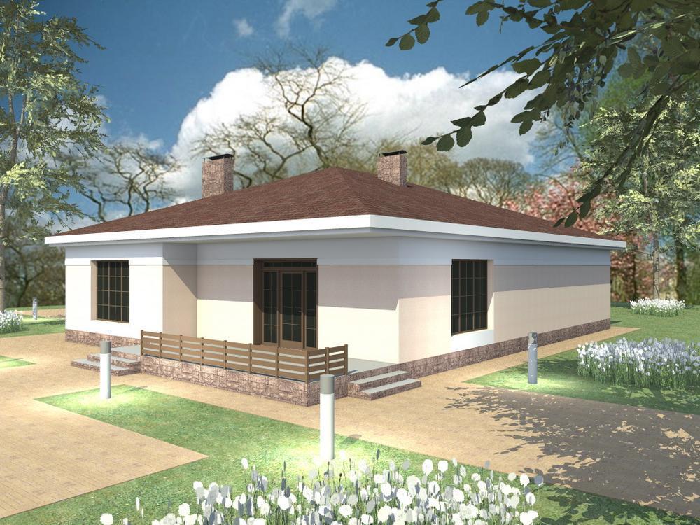 Статус D-041. Проект одноэтажного коттеджа на 3 спальни, с террасой, подвалом