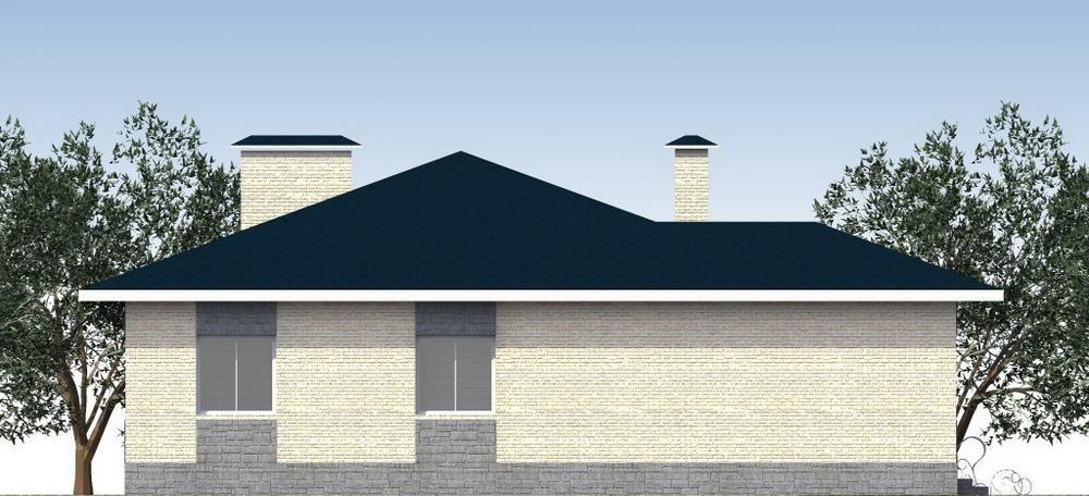 Стейн C-189. Проект одноэтажного дома на 3 спальни, с кабинетом, спортзалом и угловой террасой