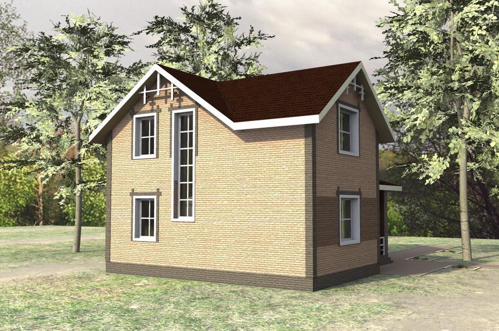 Стимул B-144. Проект мансардного дома с тремя спальнями