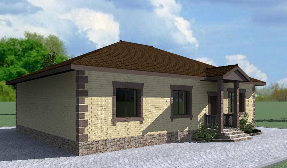 Стюарт B-211. Проект одноэтажного дома на 3 спальни, с небольшой террасой