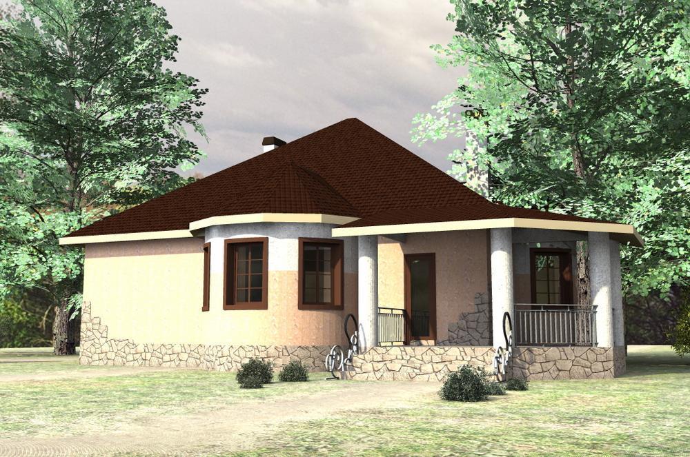Суинтон B-145. Проект одноэтажного дома нестандартной формы, на 3 спальни, с террасой