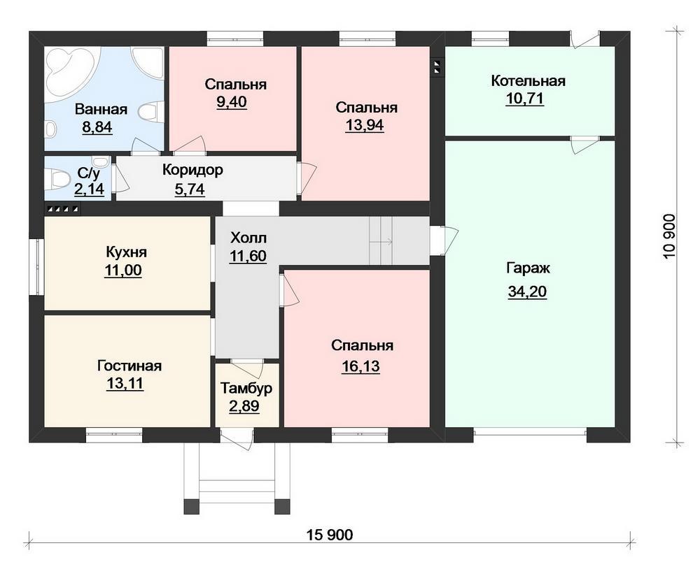 Сусек B-215. Проект одноэтажного дома на 3 спальни, с пристроенным гаражом