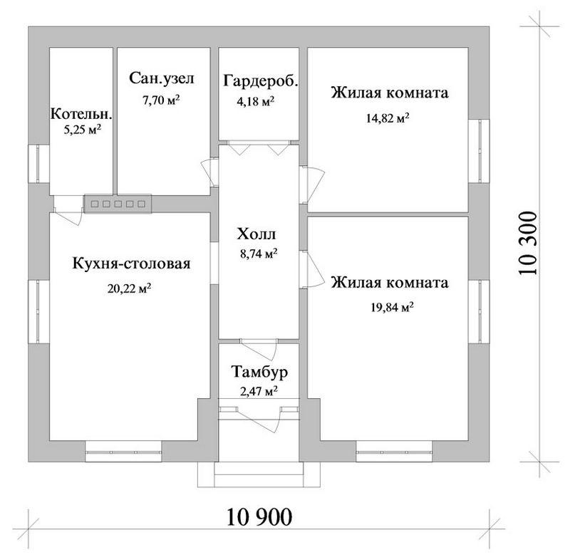 Светоч A-029. Проект простого одноэтажного дома на 2 спальни