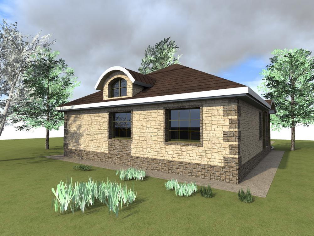 Сюзерен B-113. Проект одноэтажного дома на 2 спальни, с верандой