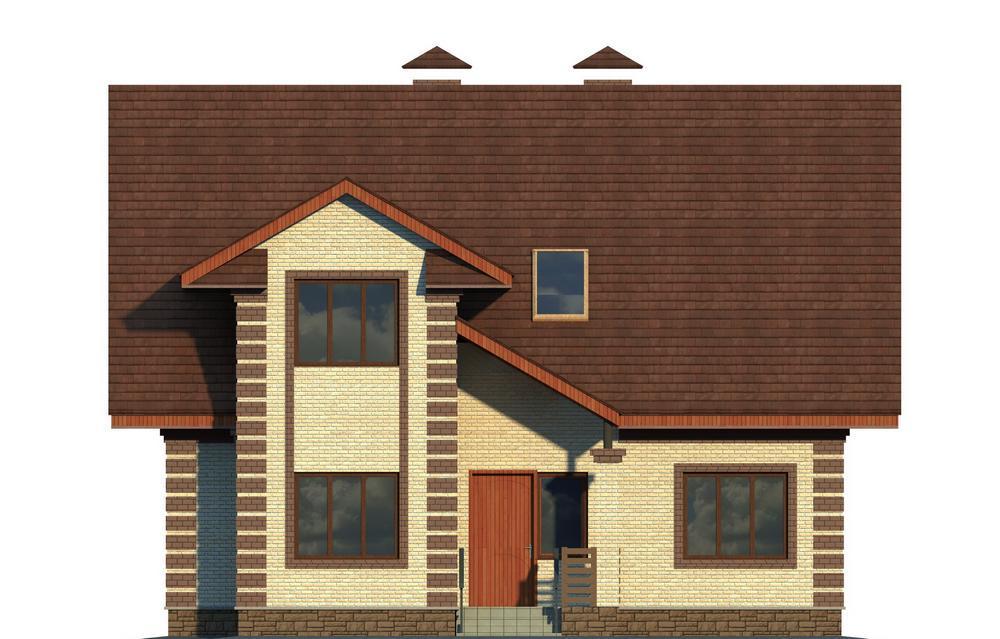ТАРТЛ C-134. Проект дома с мансардой, на 3 спальни, с террасой и кабинетом