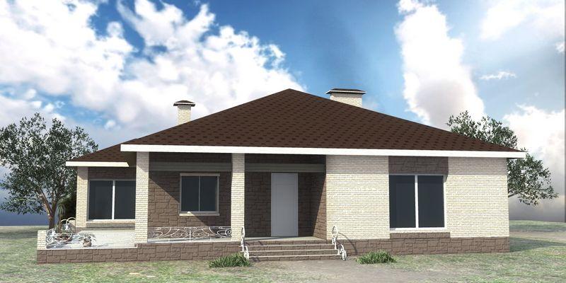 Теобальд C-205. Проект одноэтажного дома на 3 спальни с большой угловой террасой