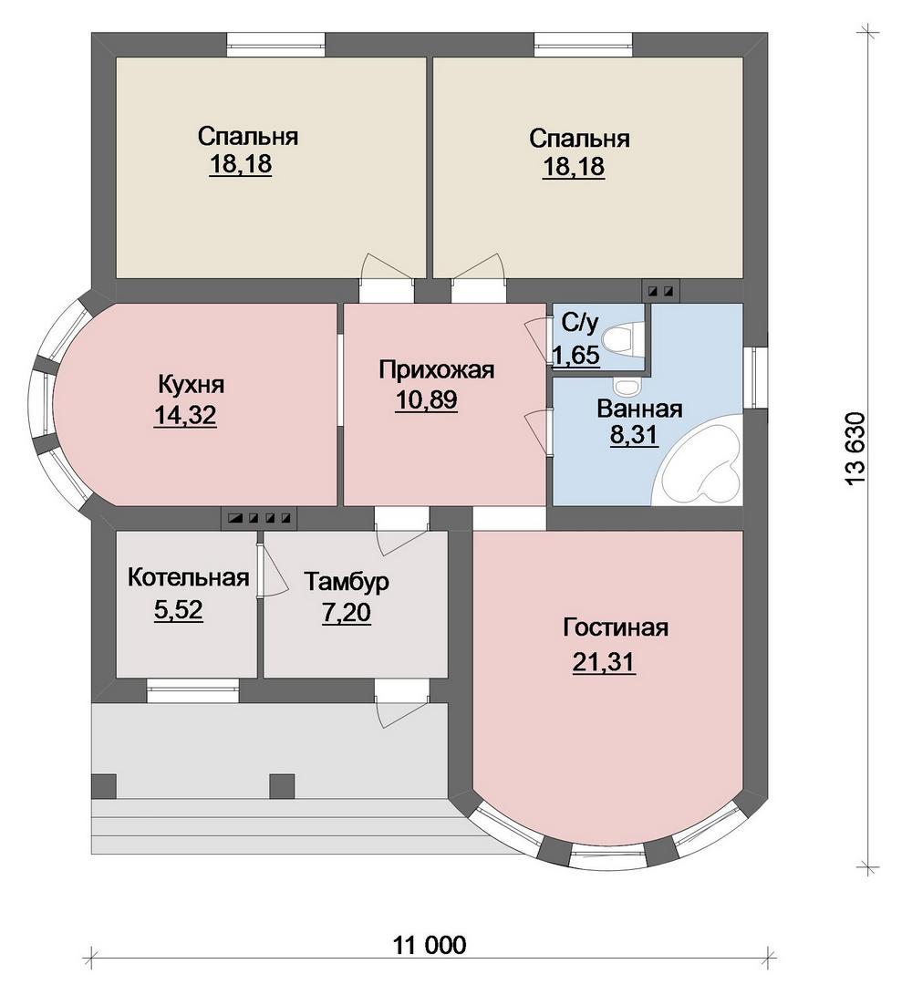 Тихая Гавань B-245 с видеообзором. Проект одноэтажного дома 11 х 13 м с двумя спальнями