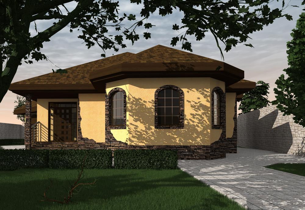 ТИМ B-179 с видеообзором. Проект одноэтажного дома с необычной планировкой, на 3 спальни, с пристроенным гаражом