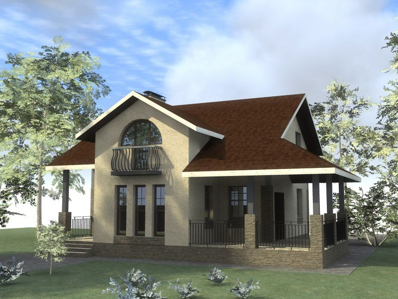 ТИНГО B-133. Проект мансардного дома на 2 спальни, с террасой и балконом