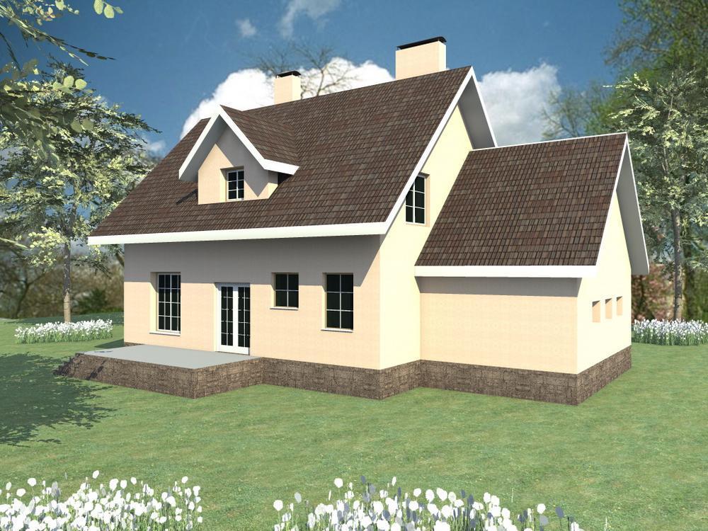 Тобиас C-106. Проект мансардного коттеджа, на 3 спальни, с гаражом и террасой