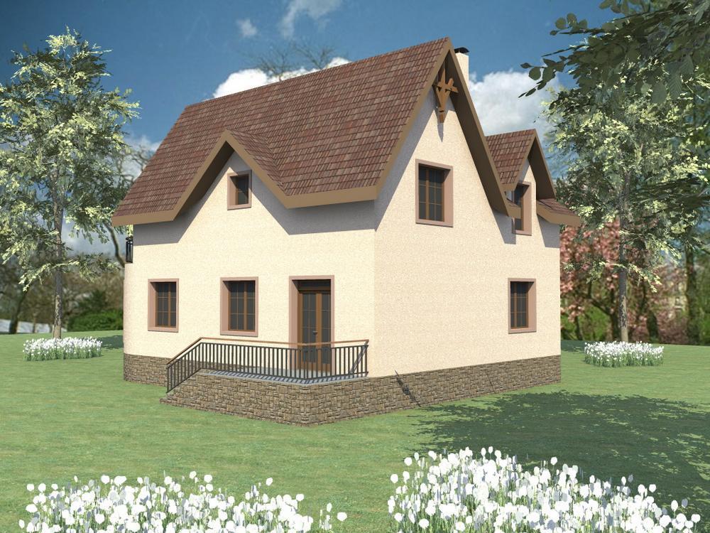 Топаз C-113. Проект мансардного дома с цокольным этажом, на 3 спальни