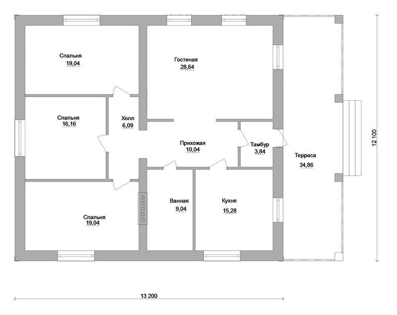 Трактат C-160. Проект одноэтажного дома на 3 спальни, с террасой