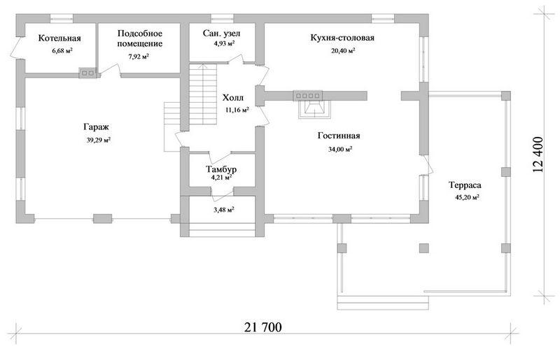 ТРАСТ F-040. Проект большого мансардного коттеджа на 3 спальни, с гаражом на 2 авто и угловой террасой
