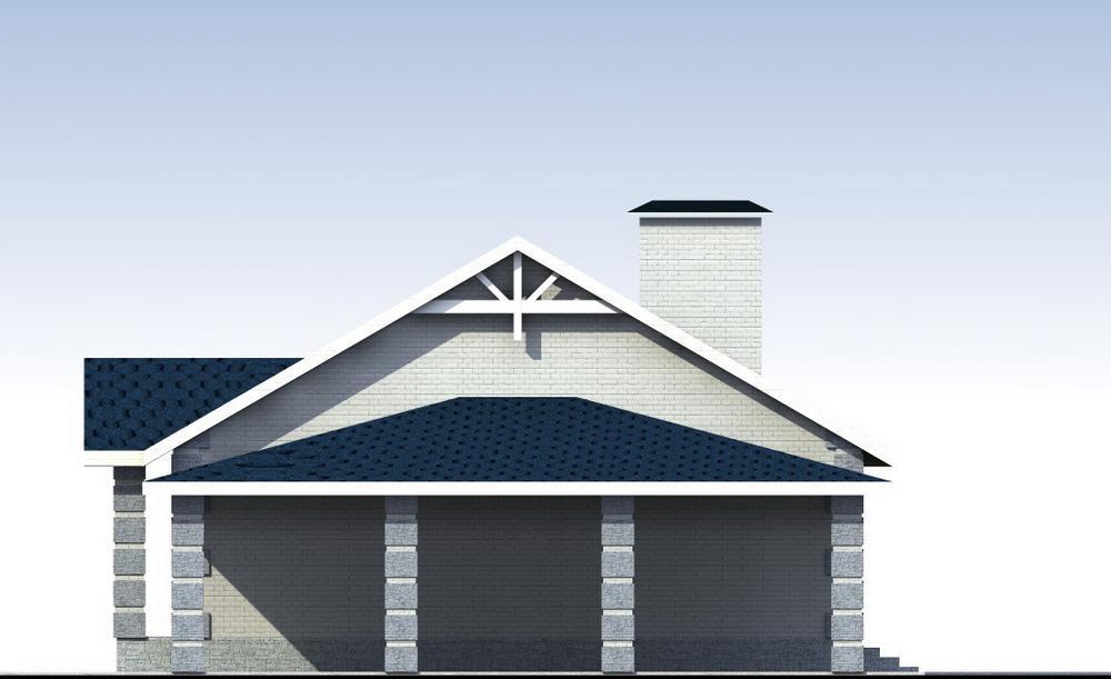 Трэвор B-199. Проект одноэтажного дома на 2 спальни, с навесом для автомобиля