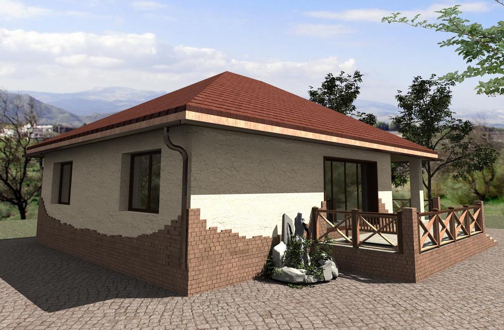 TRON A-055. Проект небольшого одноэтажного дома на 2 спальниTRON A-055. Проект небольшого одноэтажного дома на 2 спальни
