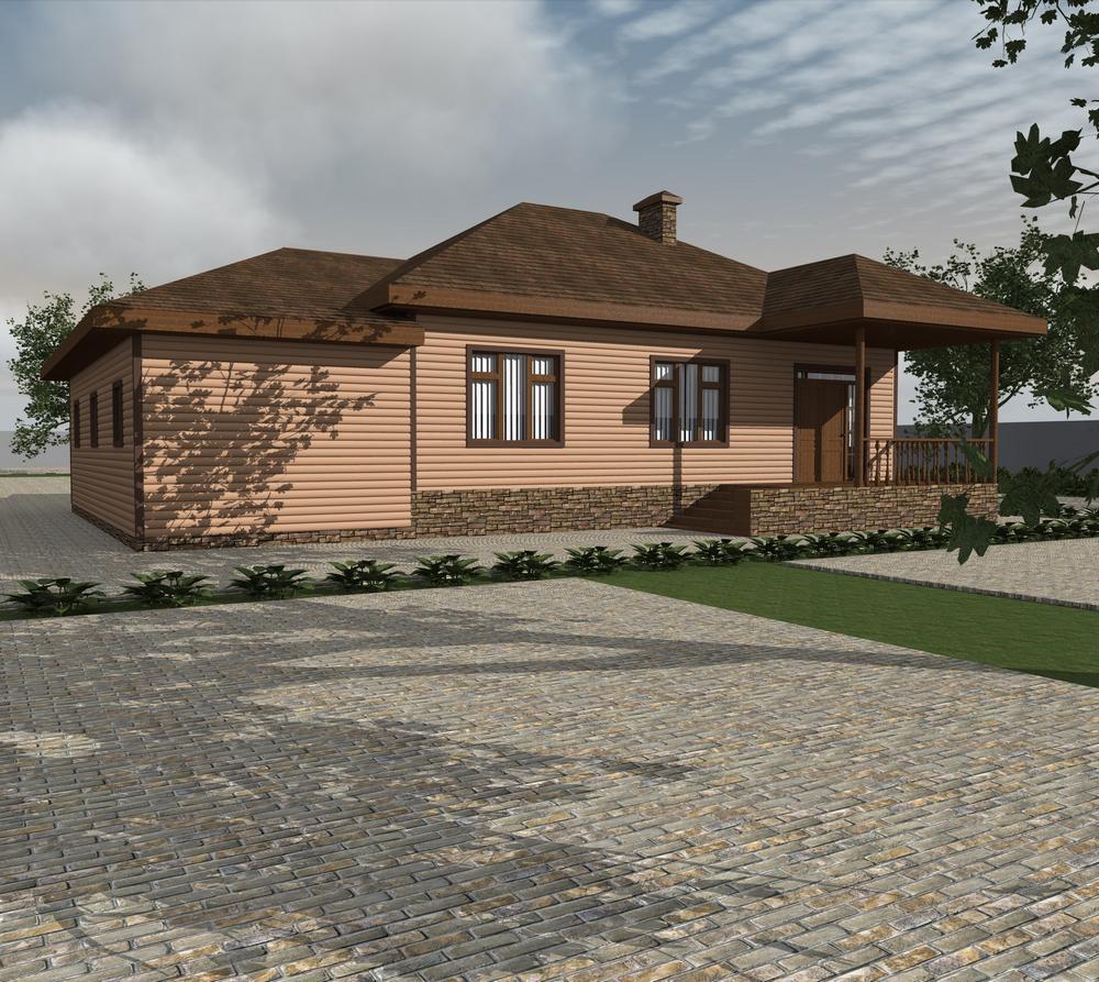 Троп C-216. Проект одноэтажного дома с тремя спальнями, террасой и гаражом