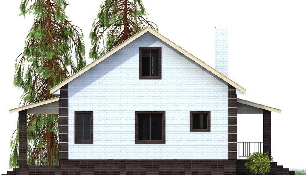 Труффальдино B-196. Проект одноэтажного дома с одной спальней, гостиной и террасой