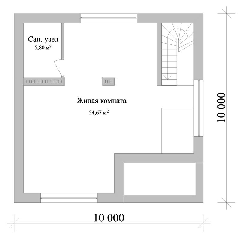 Тундра C-165. Проект цокольного коттеджа с мансардой, террасой, подвалом, на 2 спальни