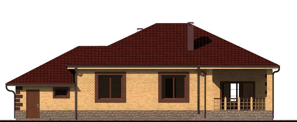 Тунгус C-184. Проект одноэтажного дома с тремя спальнями, пристроенным гаражом и террасой