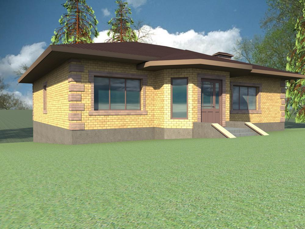 Тунор B-099. Проект одноэтажного коттеджа для участка со скосом, на 3 спальни