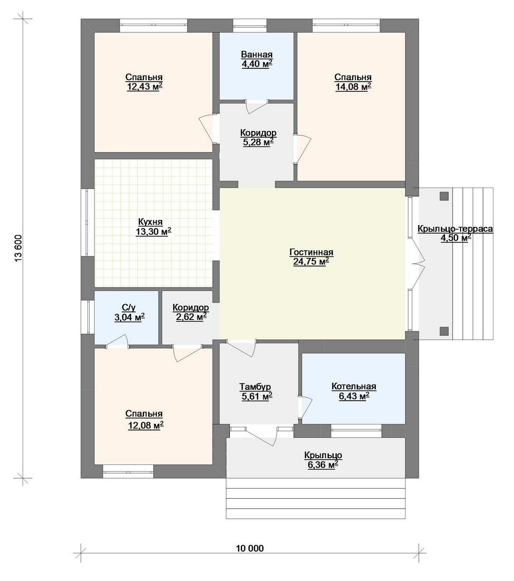 Уистон B-264. Проект одноэтажного дома на 3 спальни, с односкатной кровлей