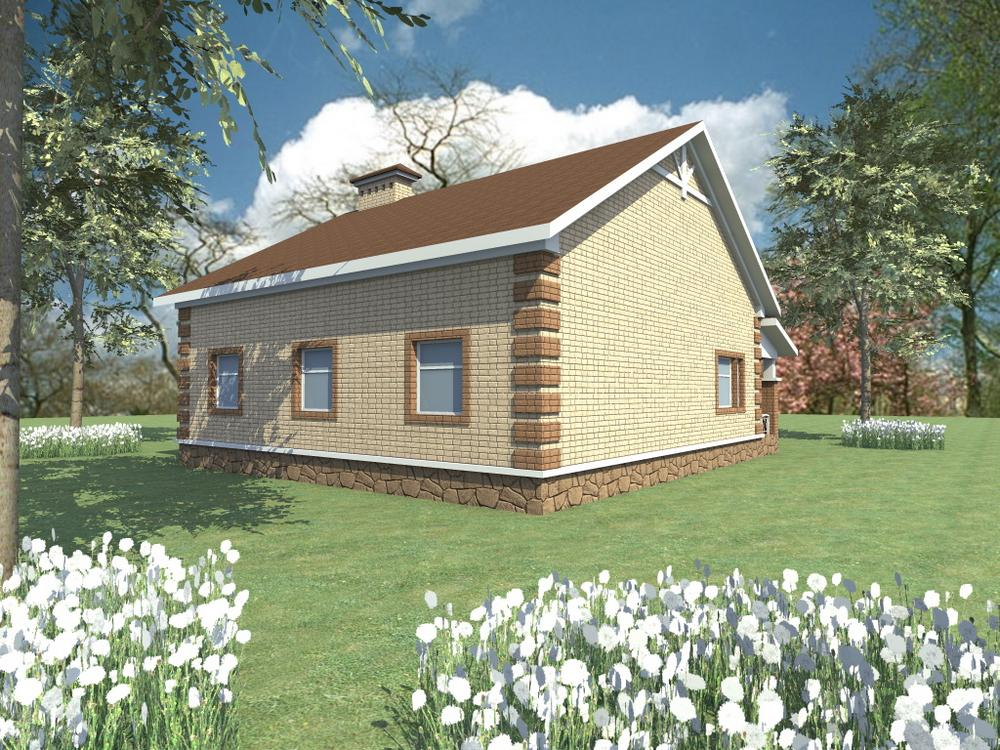 Ултан B-128. Проект одноэтажного дома на 3 спальни, с угловой террасой