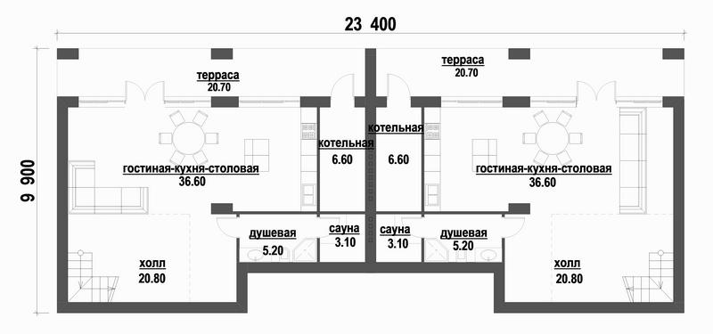 Ультиматум F-061. Проект одноэтажного дома с цокольным этажом, на две семьи