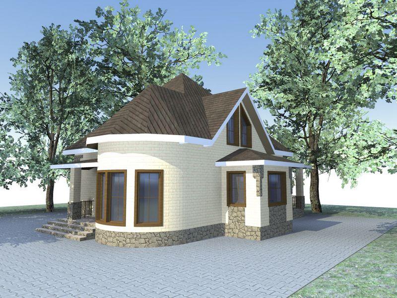 Вануату C-141. Проект красивого мансардного дома на 4 спальни, гостиная с эркером