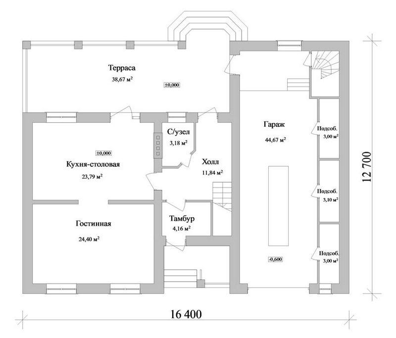 Вард E-022. Проект просторного дома с тремя спальнями, гаражом и террасой