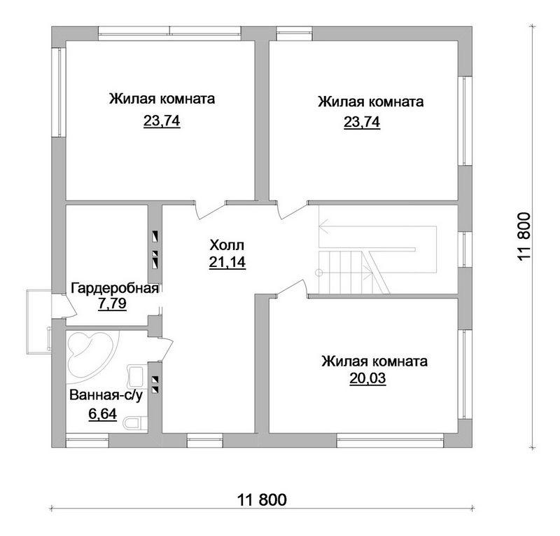 Вассал E-039. Проект двухэтажного дома в минималистическом стиле, с террасой