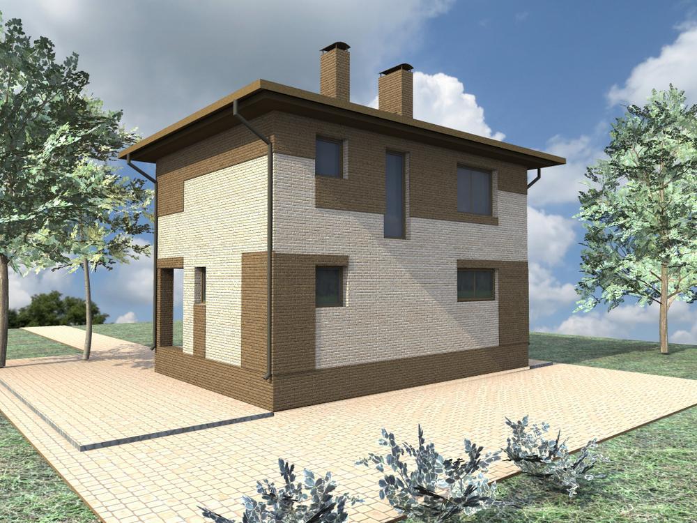 Вассер A-065. Проект двухэтажного дома с простой планировкой на 3 спальни