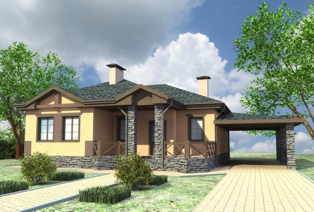 Вечный A-071. Проект одноэтажного дома с треугольными эркерами и террасой