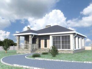 Венец G-052. Проект летнего домика с парилкой, спортзалом и террасой