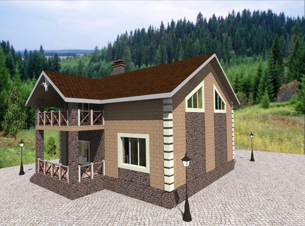 Вестар D-089. Проект мансардного дома на 4 спальни, с террасой
