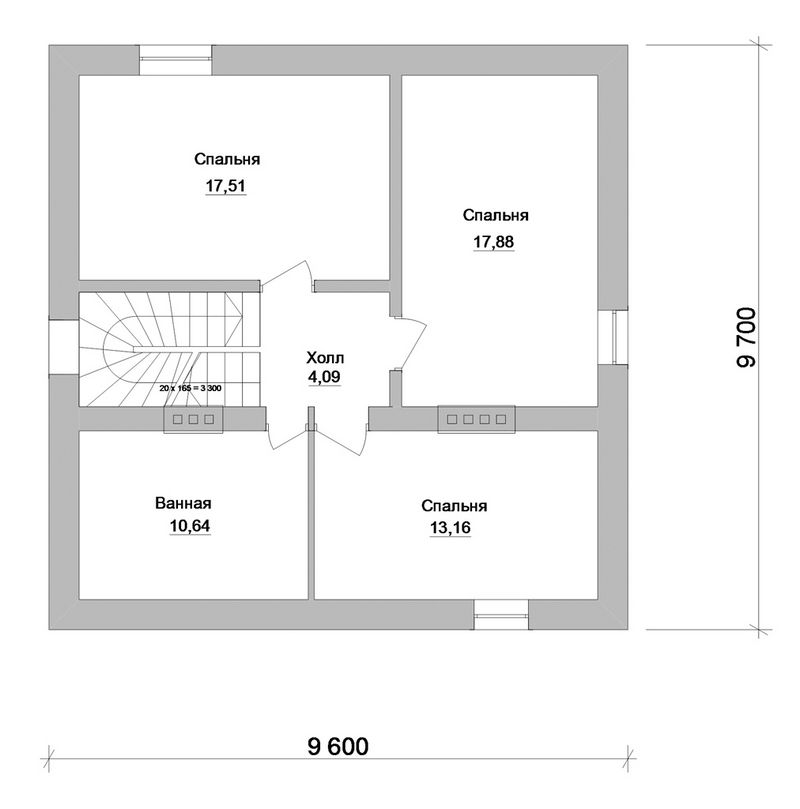 Винчестер B-110. Проект одноэтажного квадратного дома с мансардой на 3 спальни