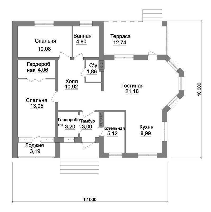 Винтаж B-192. Проект 1-этажного дома на 2 спальни, с террасой