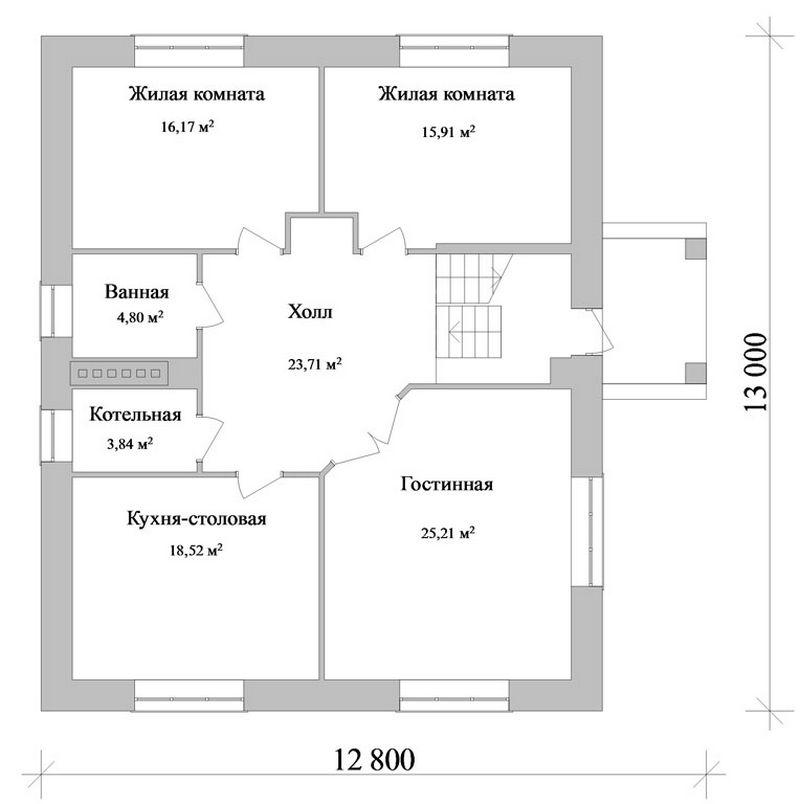 Визирь D-043. Проект мансардного коттеджа с простой планировкой