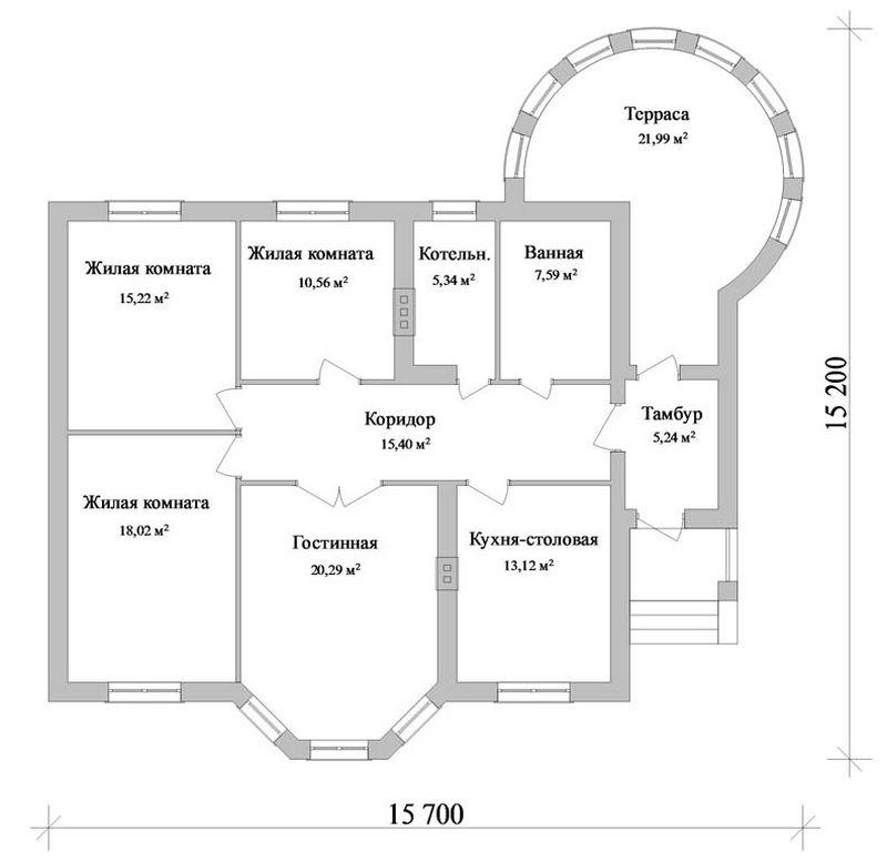 Вольтер B-084. Проект одноэтажного коттеджа с тремя спальнями и круглой верандой