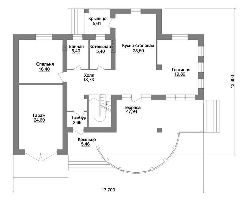 Замира D-099. Проект двухэтажного дома с тремя спальнями, гаражом, большой террасой
