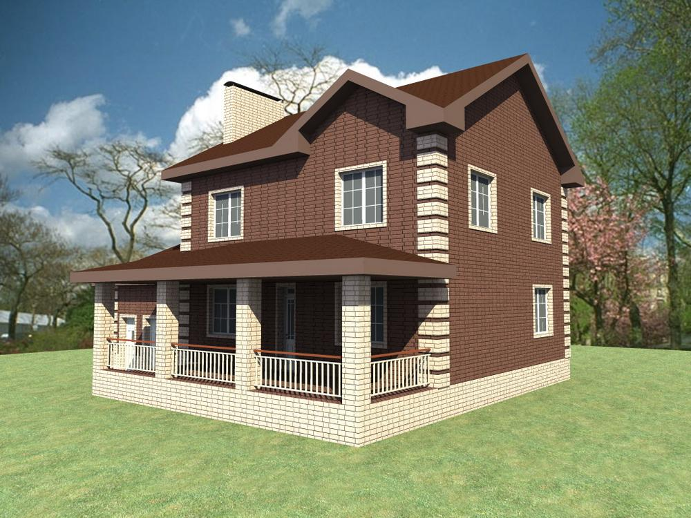 Занзибар C-236. Проект двухэтажного дома с тремя спальнями, террасой и пристроенным гаражом