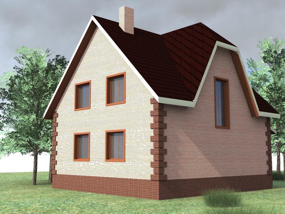 Заря C-120. Проект мансардного дома с тремя спальнями и террасой