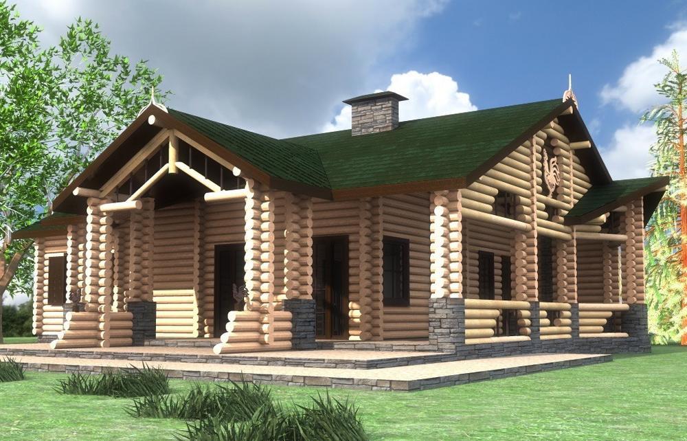Застава B-238. Проект деревянного одноэтажного дома на 3 спальни, с террасой