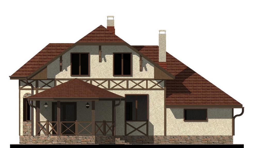 Заубер B-194. Проект мансардного дома с тремя спальнями, гаражом, террасой