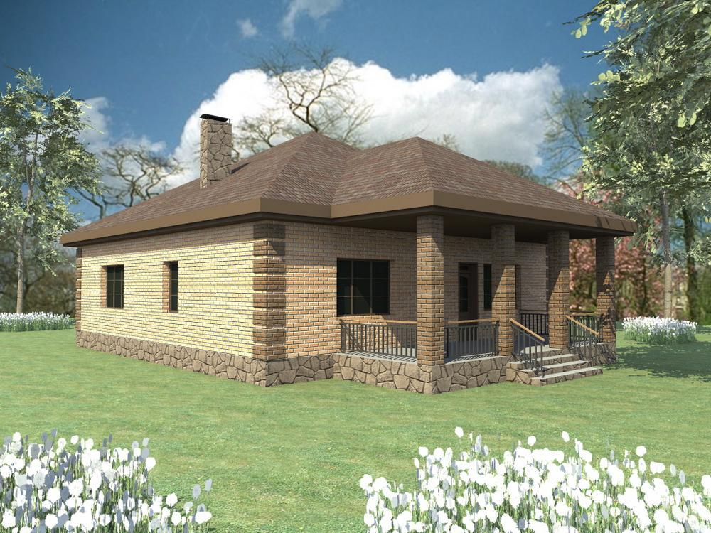 ЗЕНОН B-104. Проект одноэтажного дома на 3 спальни с большой террасой